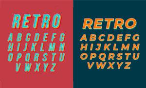 风格不一的英文字体设计矢量素材V07