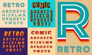 风格不一的英文字体设计矢量素材V08