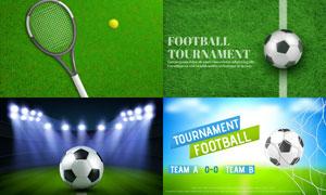 网球与足球等球类运动主题矢量素材