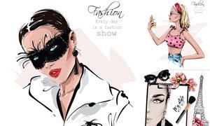 时尚美女模特人物插画创意矢量素材