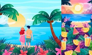 椰树与大海等夏日风景主题矢量素材