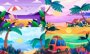 海边沙滩度假风光主题插画矢量素材