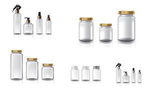 沒有標簽的瓶瓶罐罐包裝效果矢量圖