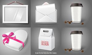 咖啡杯與桃心禮物盒等樣機矢量素材