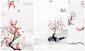 中国风梅花主题广告背景设计PSD素材