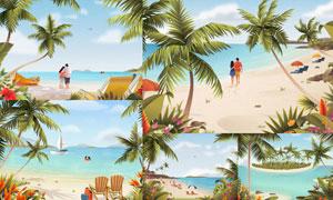 人物与海边沙滩椰树等风光矢量素材