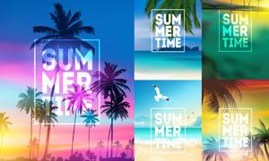 大海椰树风景夏日创意设计矢量素材