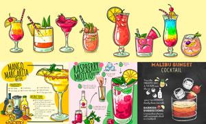 鸡尾酒与制作方法手绘创意矢量素材
