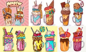 多种美味的冰淇淋插画创意矢量素材