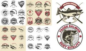 复古怀旧风钓鱼俱乐部标志矢量素材