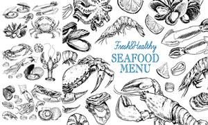 鱿鱼与螃蟹等海鲜白描创意矢量素材