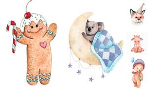 考拉熊与狐狸等卡通动物创意矢量图