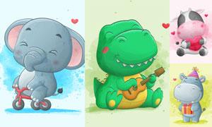 恐龙与大象等水彩卡通创意矢量素材