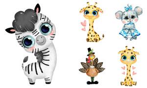 长颈鹿与斑马等卡通动物创意矢量图