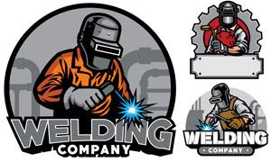 头戴护具的焊工人物标志设计矢量图