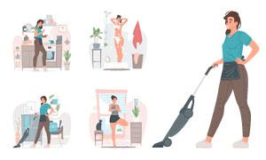 居家休闲美女人物插画创意矢量素材