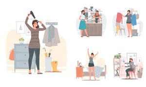 购物等日常活动中的美女插画矢量图