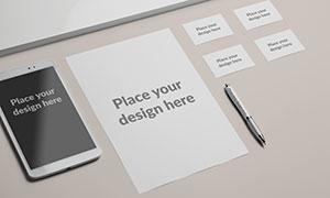 平铺效果的名片与纸张样机模板素材