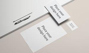 名片与纸张等企业视觉元素样机模板