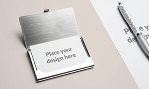 名片夹里的名片样机模板分层源文件
