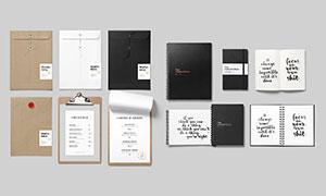 文件袋与记事本等样机模板分层素材