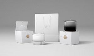 蜡烛包装盒与手提袋等样机分层模板