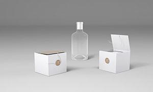 玻璃瓶与蜡烛包装盒样机模板源文件