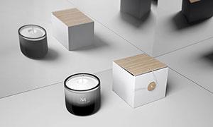 蜡烛与包装盒效果展示贴图模板素材