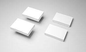 叠放成一摞摞的名片样机模板源文件