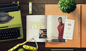 画册手机与绿植等样机模板分层素材