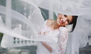 飘扬薄纱下的新娘人物摄影高清图片