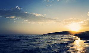 蓝天白云大海夕阳美景摄影高清图片
