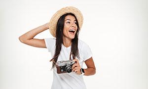 戴草帽拿相机的披肩发美女高清图片