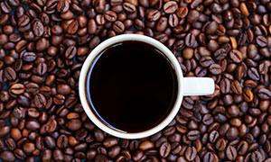 摆放在咖啡豆上的一杯咖啡高清图片