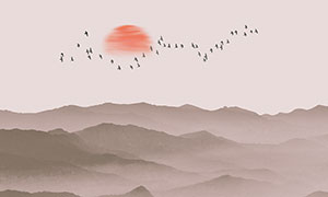 中国风山水画中式装饰画设计PSD素材