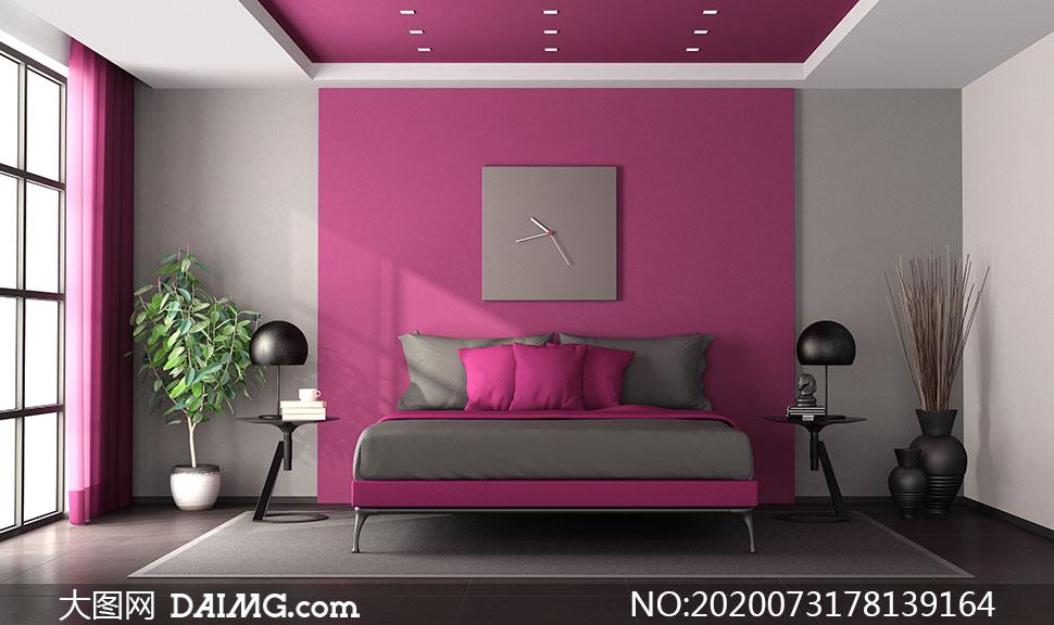 卧室大床与背景墙装饰摄影高清图片