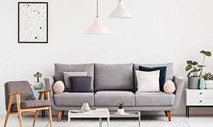 客厅吊灯沙发与茶几绿植等高清图片