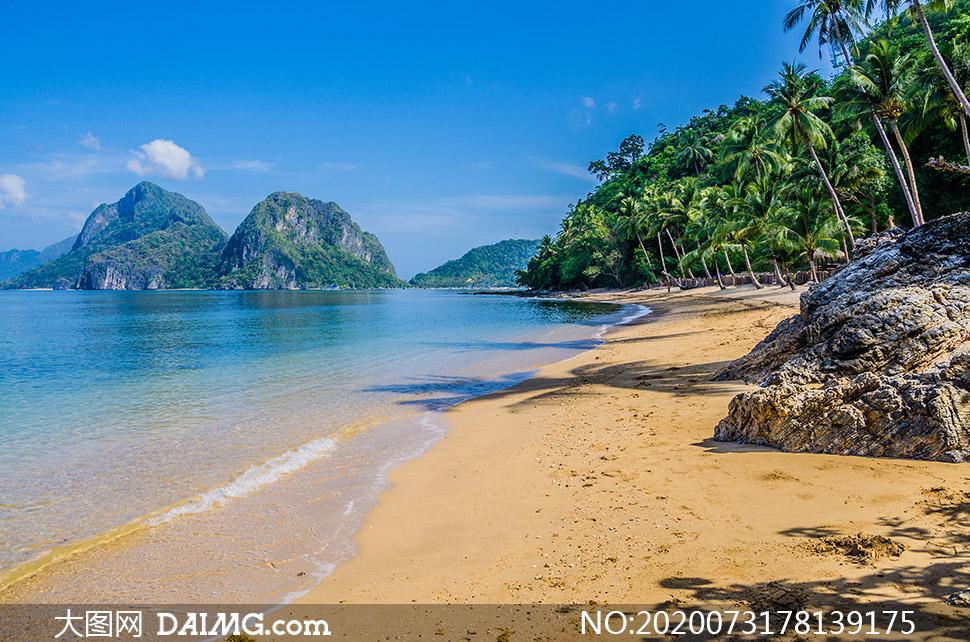 大海高山沙滩椰树风景摄影高清图片
