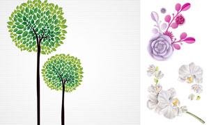 绿叶大树与花朵等创意设计矢量素材