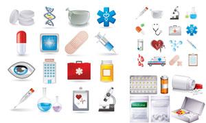救护车与听诊器等医疗图标矢量素材