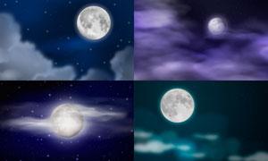 挂在夜空中的月球主题创意矢量素材