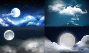 夜空中的一轮明月主题风景矢量素材