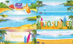 夏日海边椰树风光插画创意矢量素材