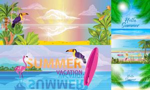 海景椰树与鹦鹉等夏日插画矢量素材
