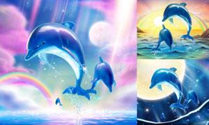 明月彩虹与海豚等创意设计矢量素材