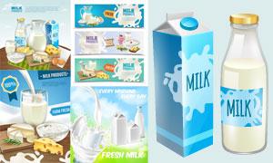 鲜牛奶广告与BANNER设计矢量素材