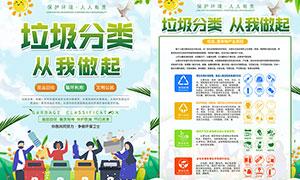 垃圾分类指引宣传单设计PSD模板