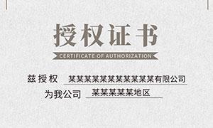 品牌授权证书模板PSD素材