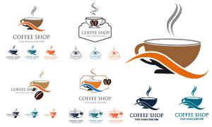 咖啡豆与咖啡杯图案创意标志矢量图