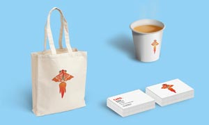 手提袋纸杯和名片展示效果PSD样机